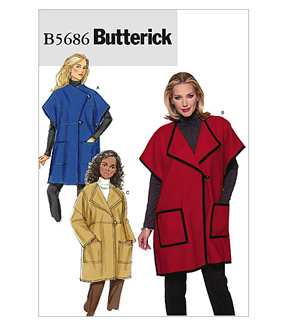Butterick Pattern B5686-Misses' Cape and Jacket