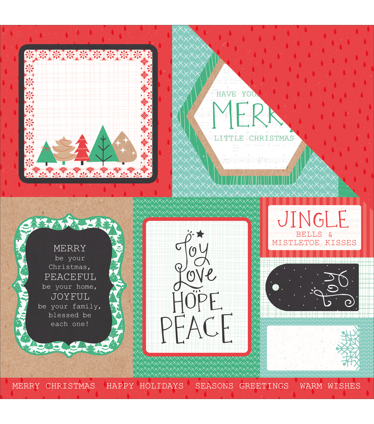 Kaisercraft Holly Jolly Double-Sided Cardstock-Chipper