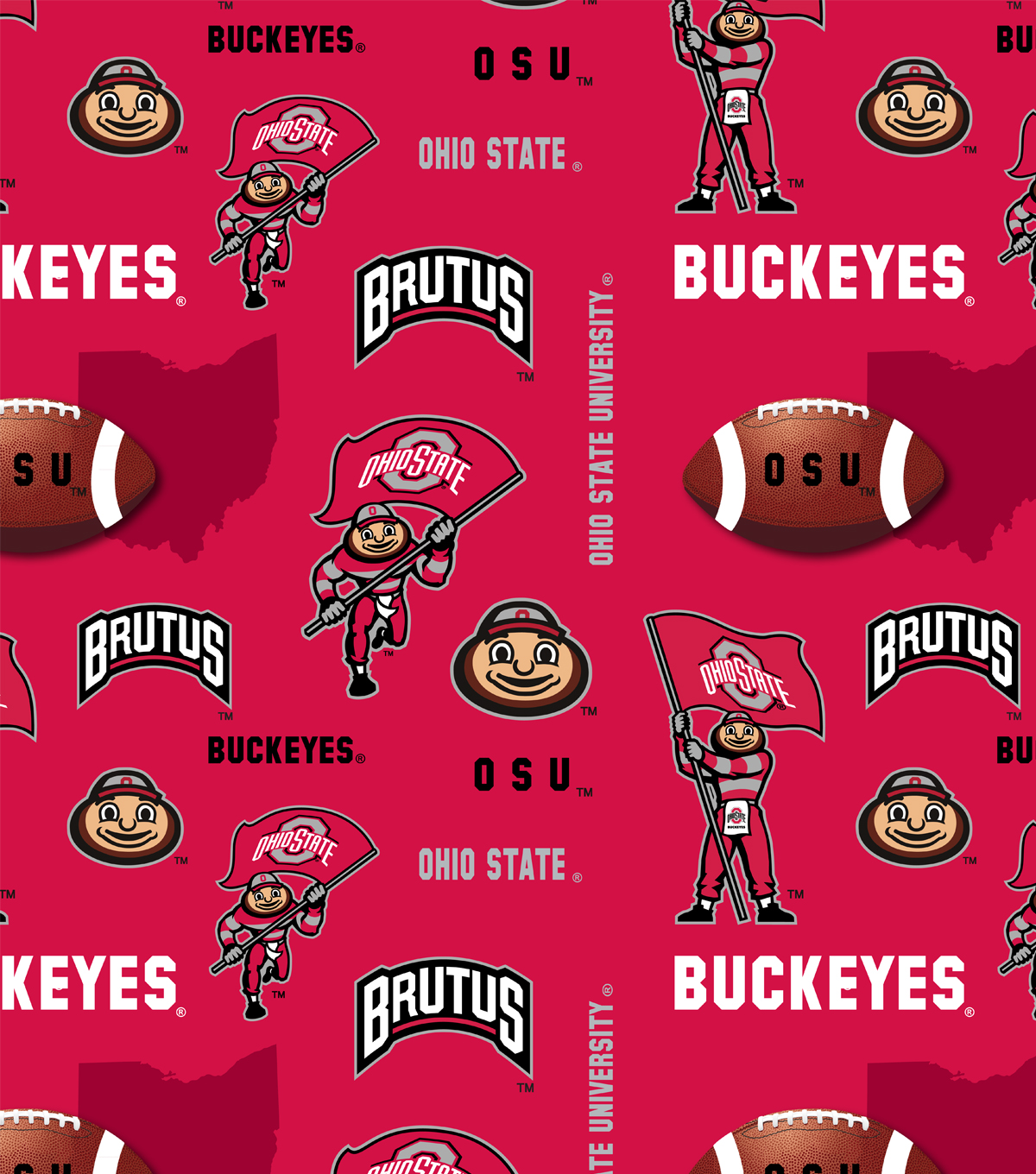Ohio State University Buckeyes Fleece Fabric 60\u0022-Red