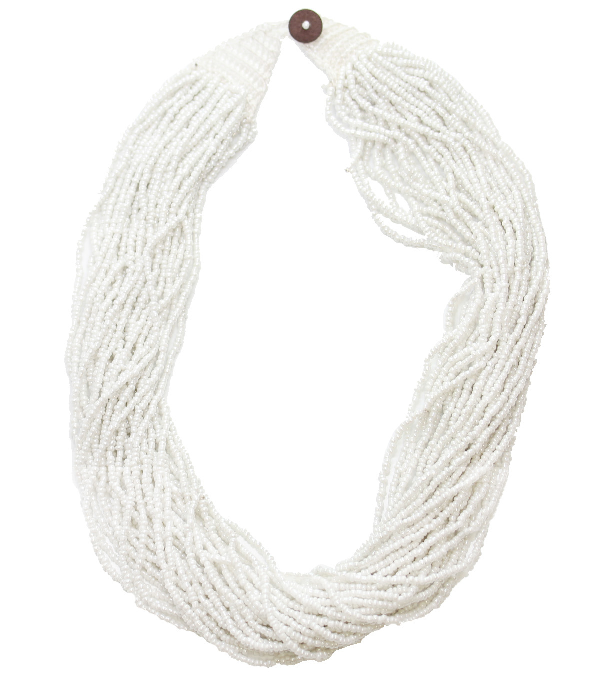 Bliss Beads Woven Closure Seed Bead Necklace-White