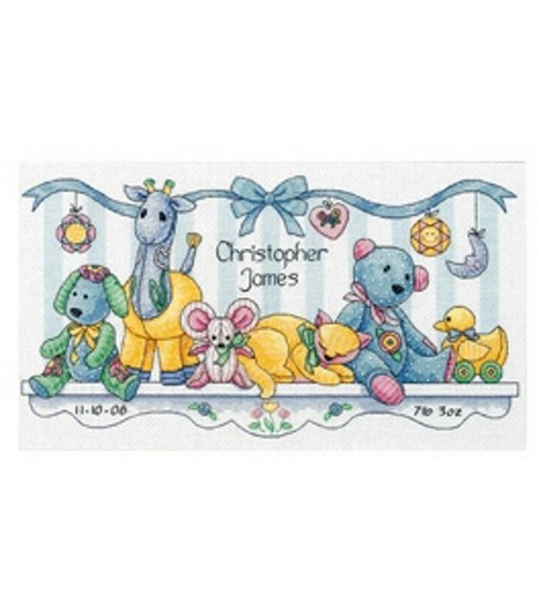 Dimensions Birth Record Counted Cross Stitch Baby\u0027s Friends