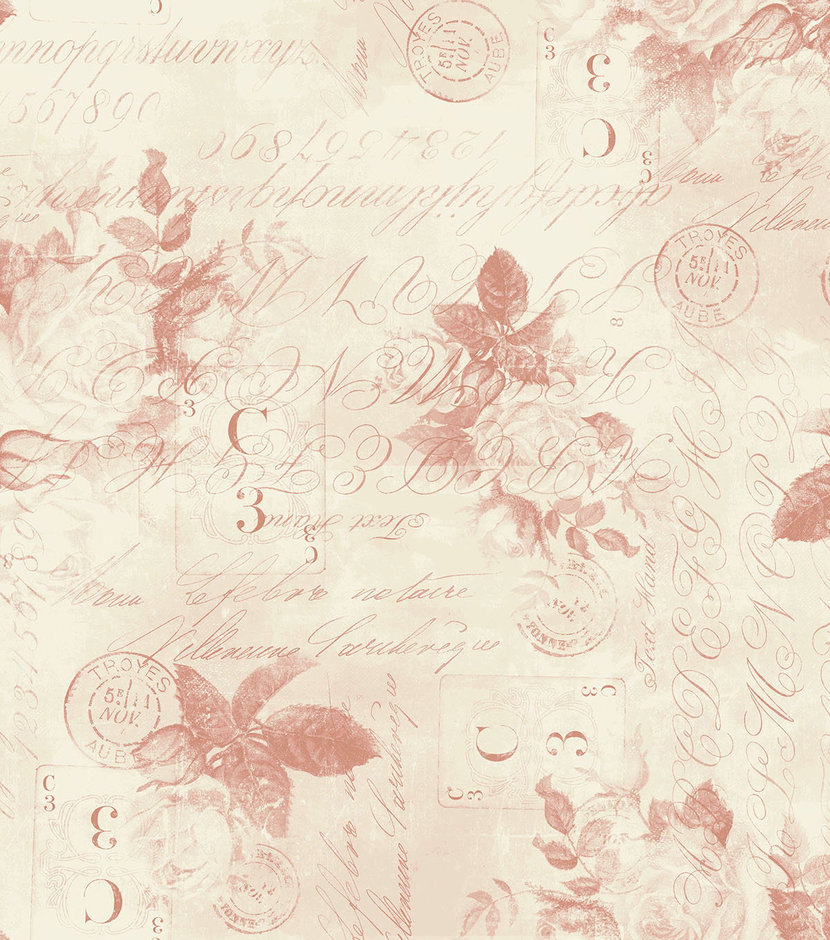 Tim Holtz Wide Cotton Fabric 108''-Red Rose Parcel