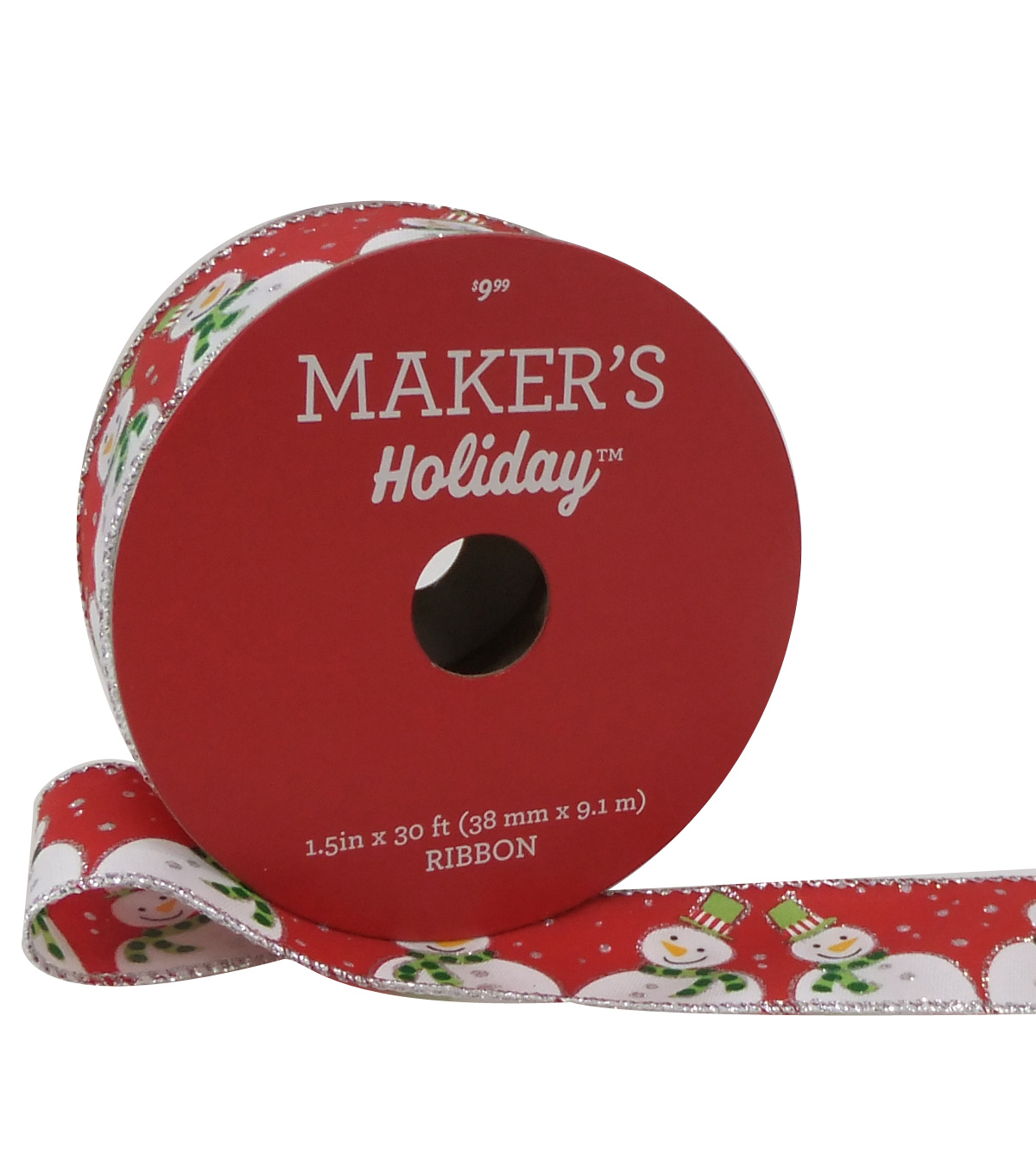 Maker's Holiday Christmas Ribbon 1.5''x30'-Snowmen & Dots on Red