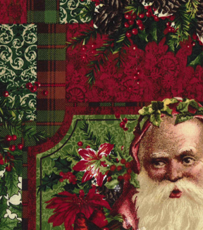Christmas Cotton Fabric 43\u0022-Believe Santa Poinsettia