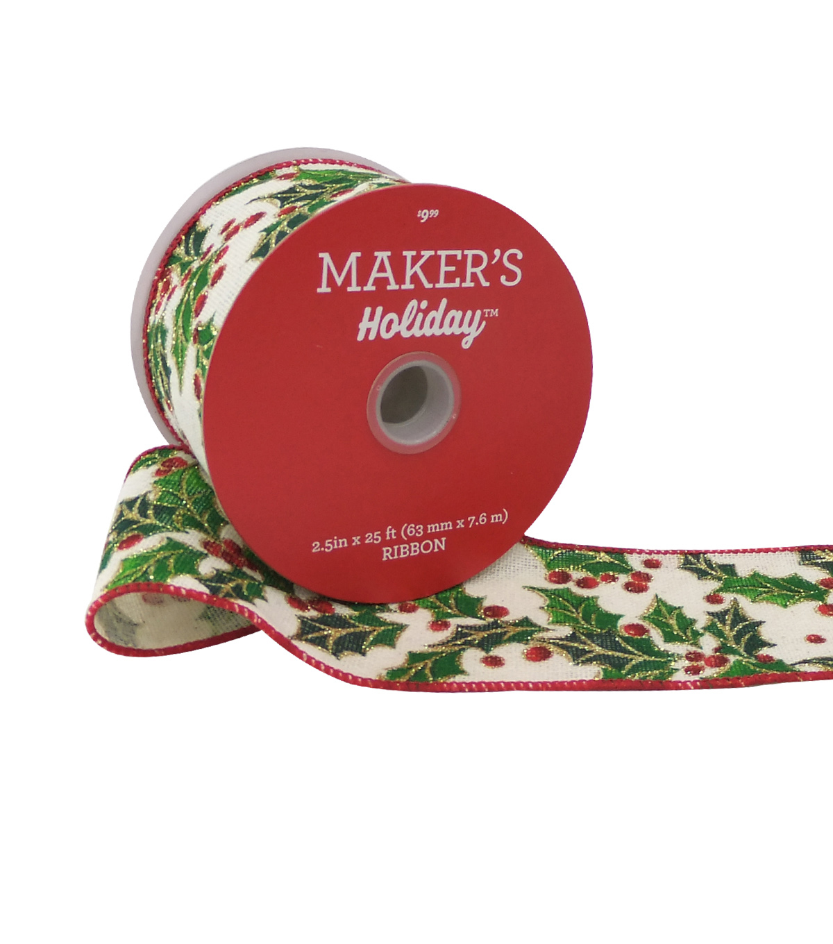 Maker's Holiday Christmas Ribbon 2.5''x25'-Tossed Glitter Holly on White