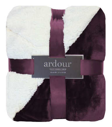 Ardour 50\u0027\u0027 x 60\u0027\u0027 Solid Velvet Berber Throw-Purple