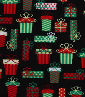 Holiday Showcase™ Christmas Cotton Fabric 43''-Packed Presents on Black