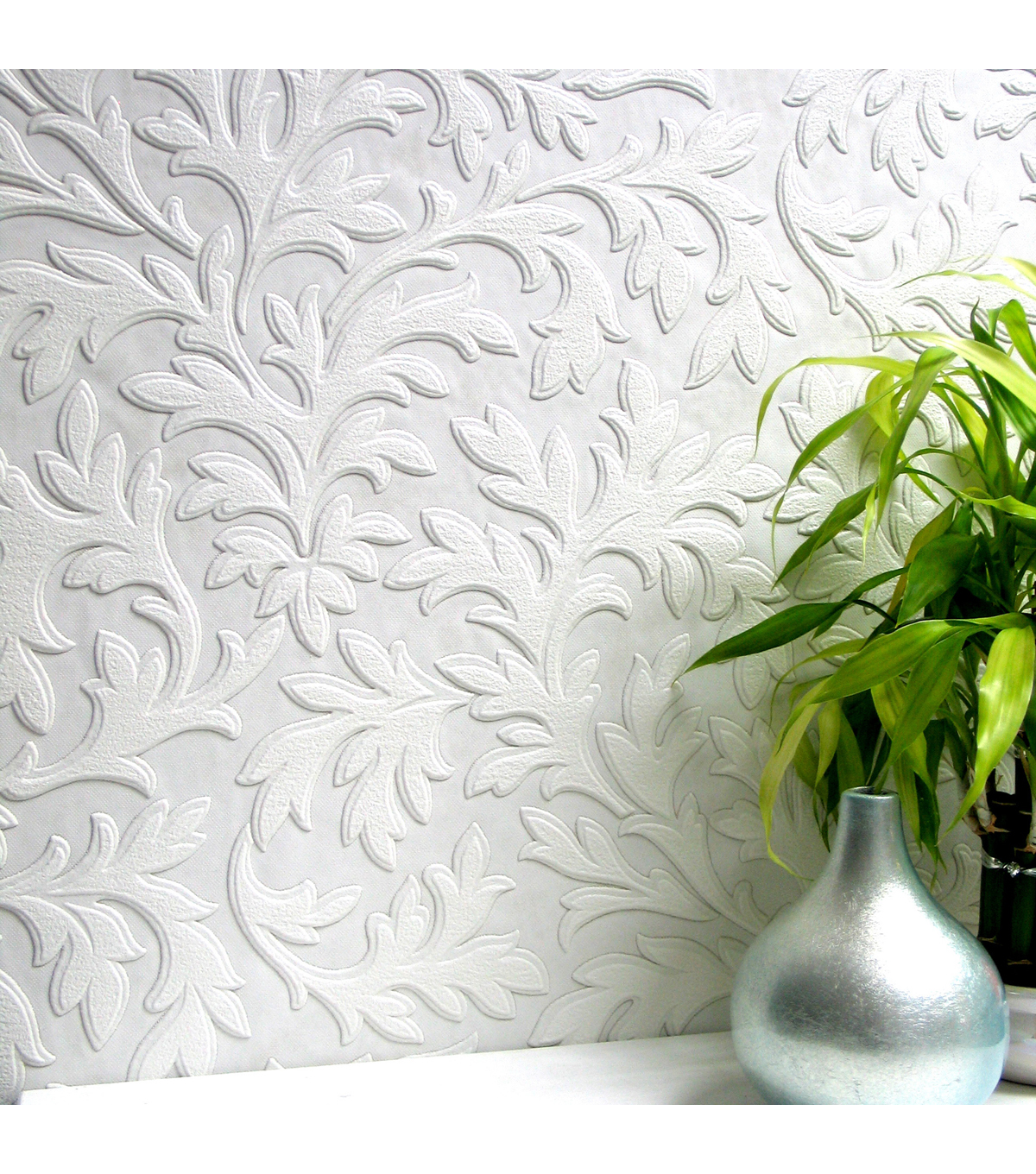 High Leaf Paintable Textured Vinyl Wallpaper Sample