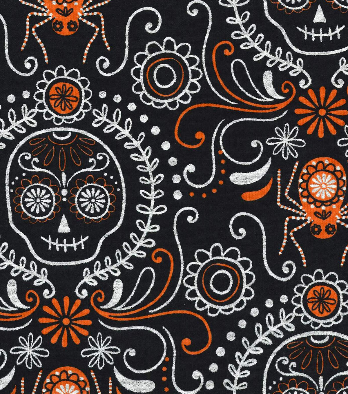 Holiday Inspirations Fabric- Halloween Dod Black Metallic