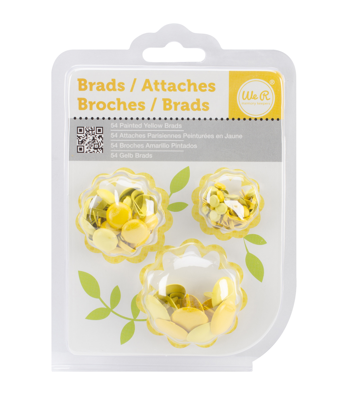 Painted Brads 54/Pkg-Yellow