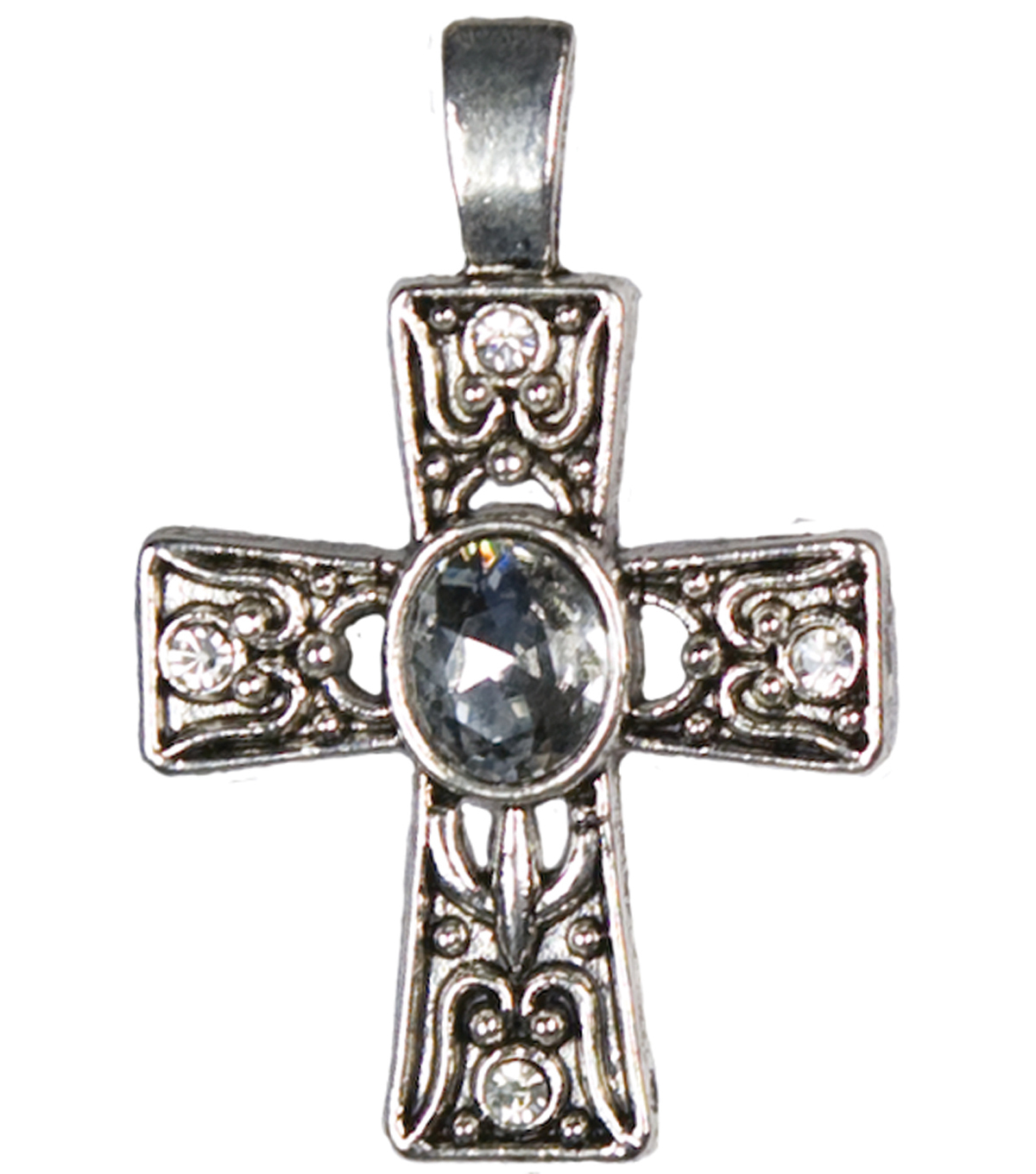 Jewelry Basics Metal Pendant 1/Pk-Silver Deco Cross
