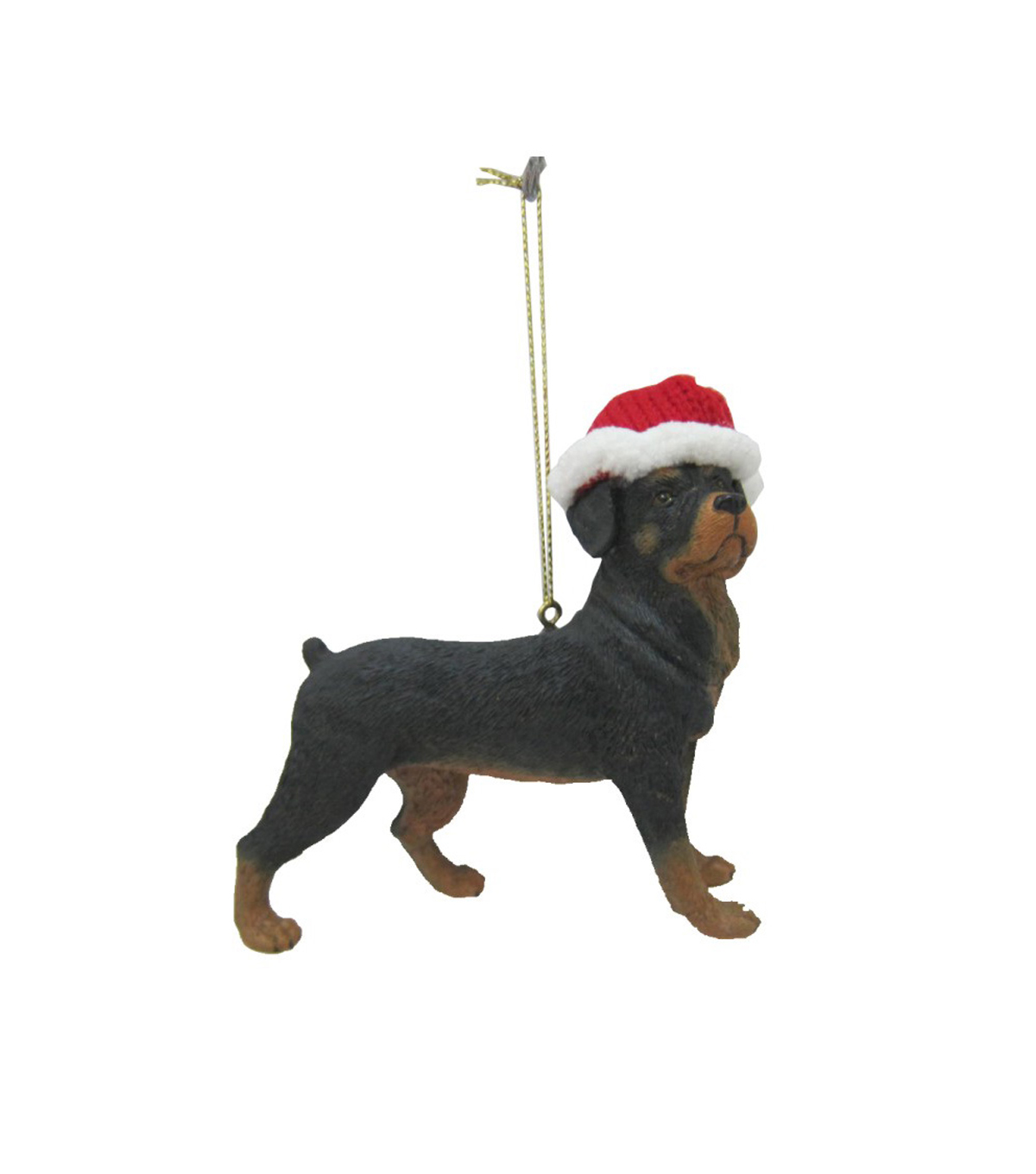 Maker\u0027s Holiday Christmas Resin Rottweiler With Hat Ornament