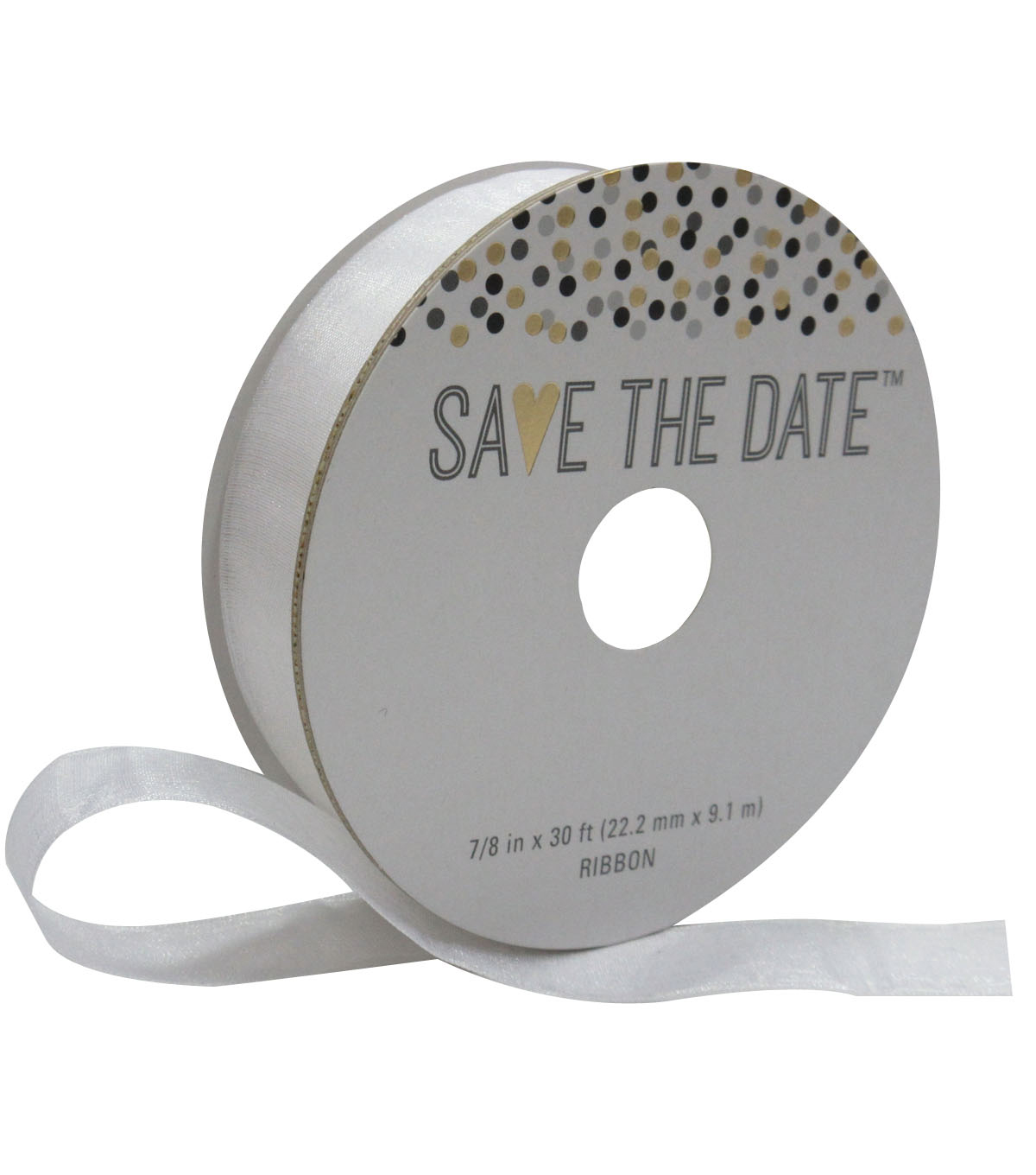 Save the Date 7/8'' X 30' Ribbon-White Sheer