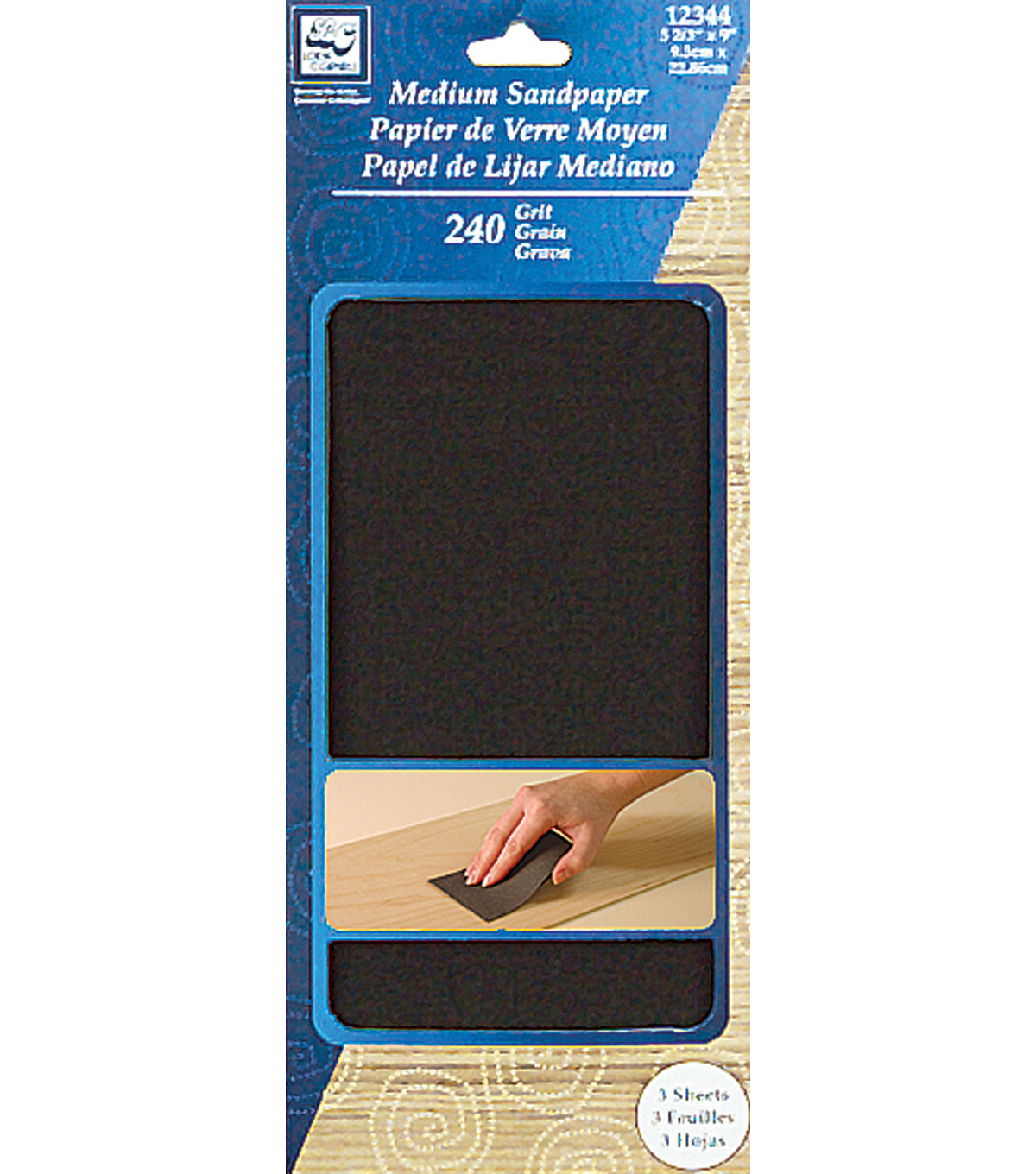 Medium Sandpaper 3-2/3\u0022X9\u0022 3/Pkg-240 Grit