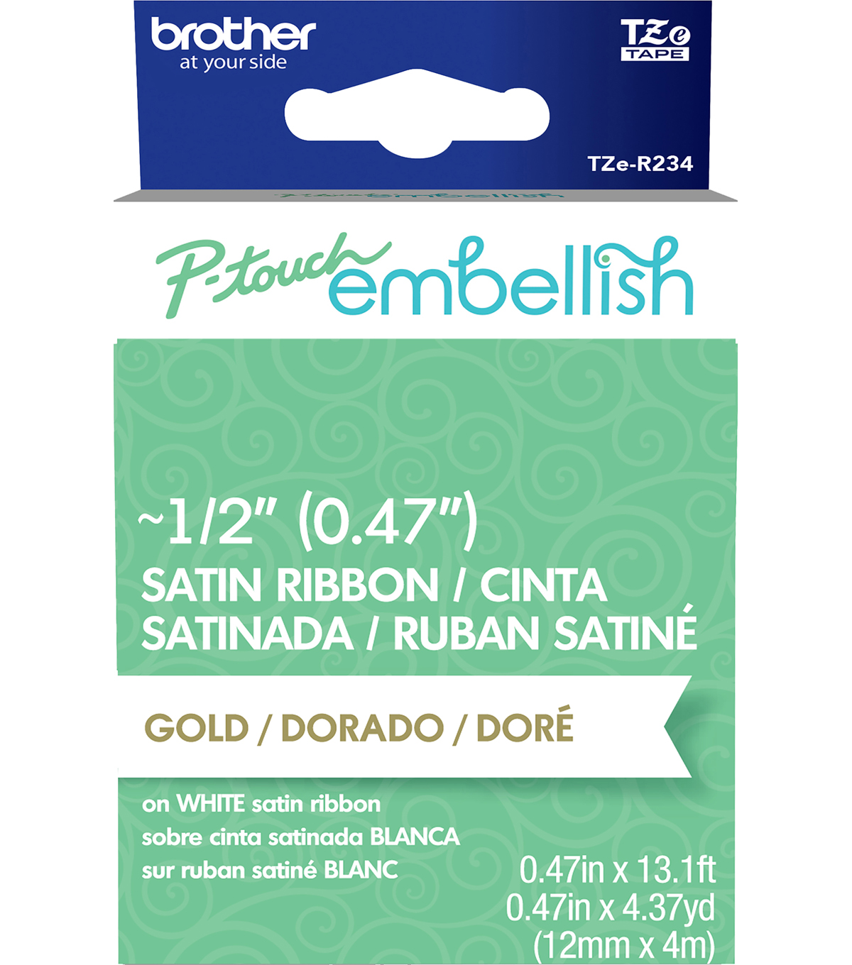 Brother™ P-touch Embellish Satin Ribbon 0.47\u0027\u0027x13.1\u0027-Gold on White
