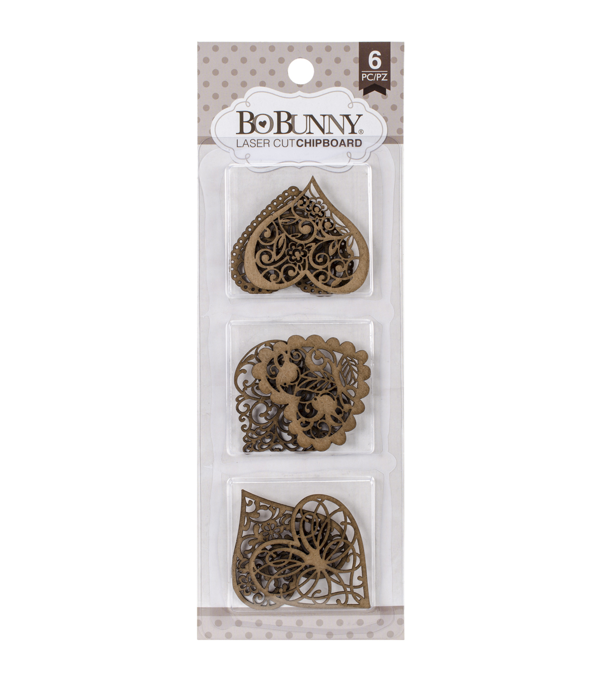 Bo Bunny 6ct Essentials Laser-Cut Chipboard-Heart