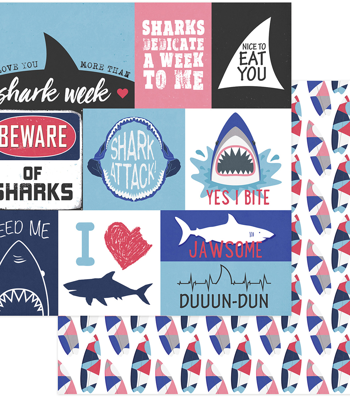 Shark Attack Double-Sided Cardstock 12\u0022X12\u0022-Jawsome Cards