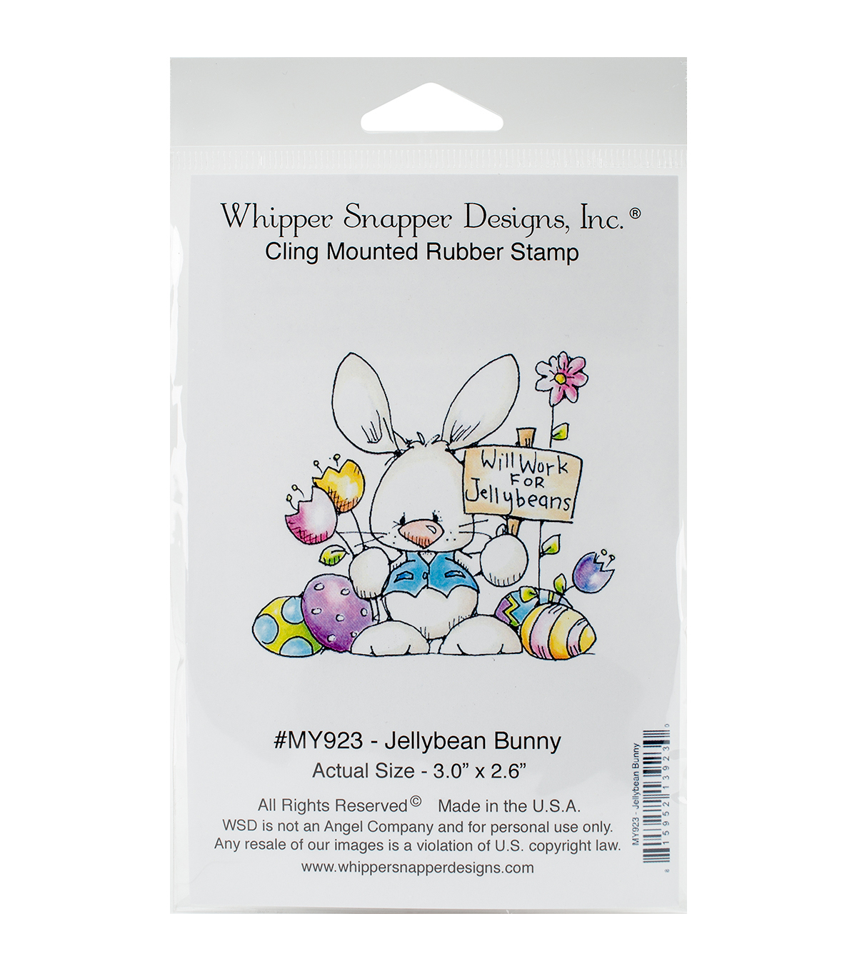 Whipper Snapper Designs Cling Stamp-Jellybean Bunny