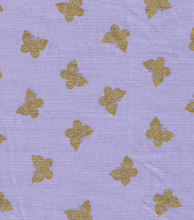 "Keepsake Calico™ Cotton Fabric 43""-Gold Metallic Butterflies Purple"
