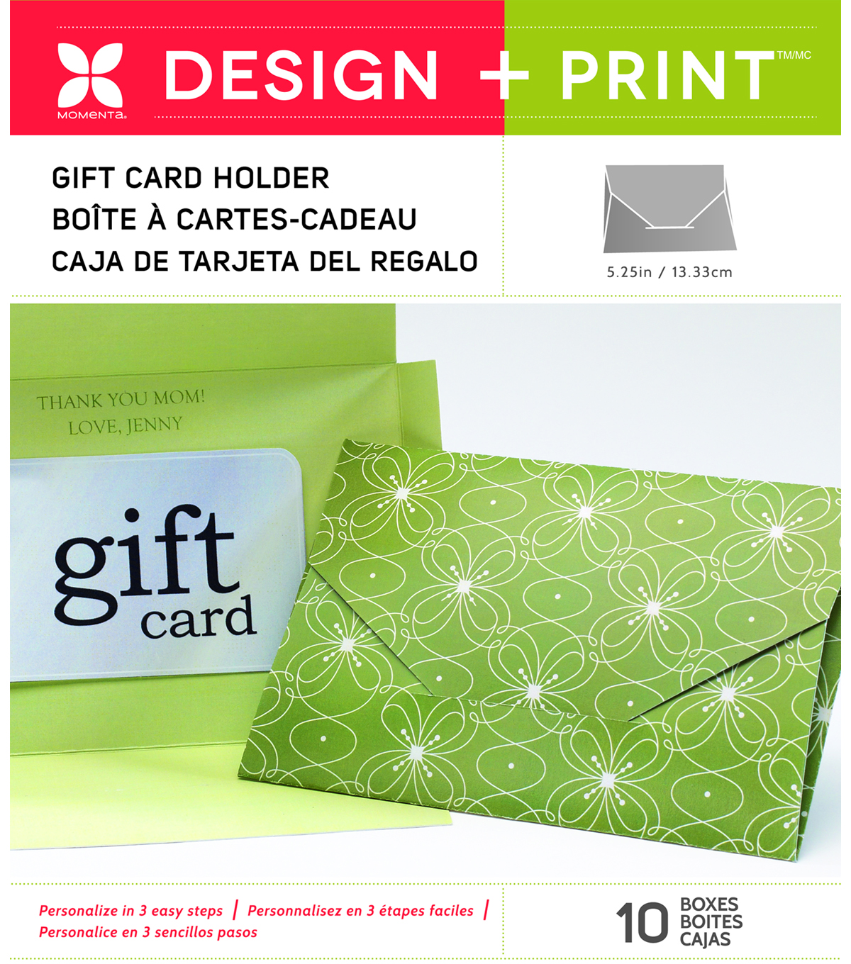 Momenta 10 pk 5.25\u0027\u0027 Design & Print Gift Card Holders