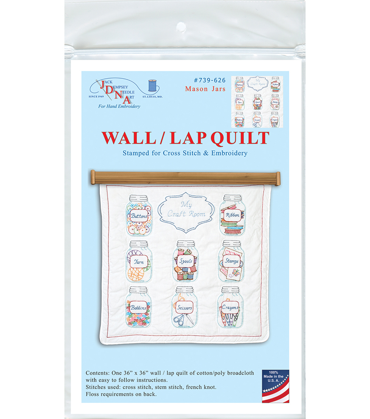 Stamped White Wall Or Lap Quilt 36\u0022X36\u0022-Mason Jars