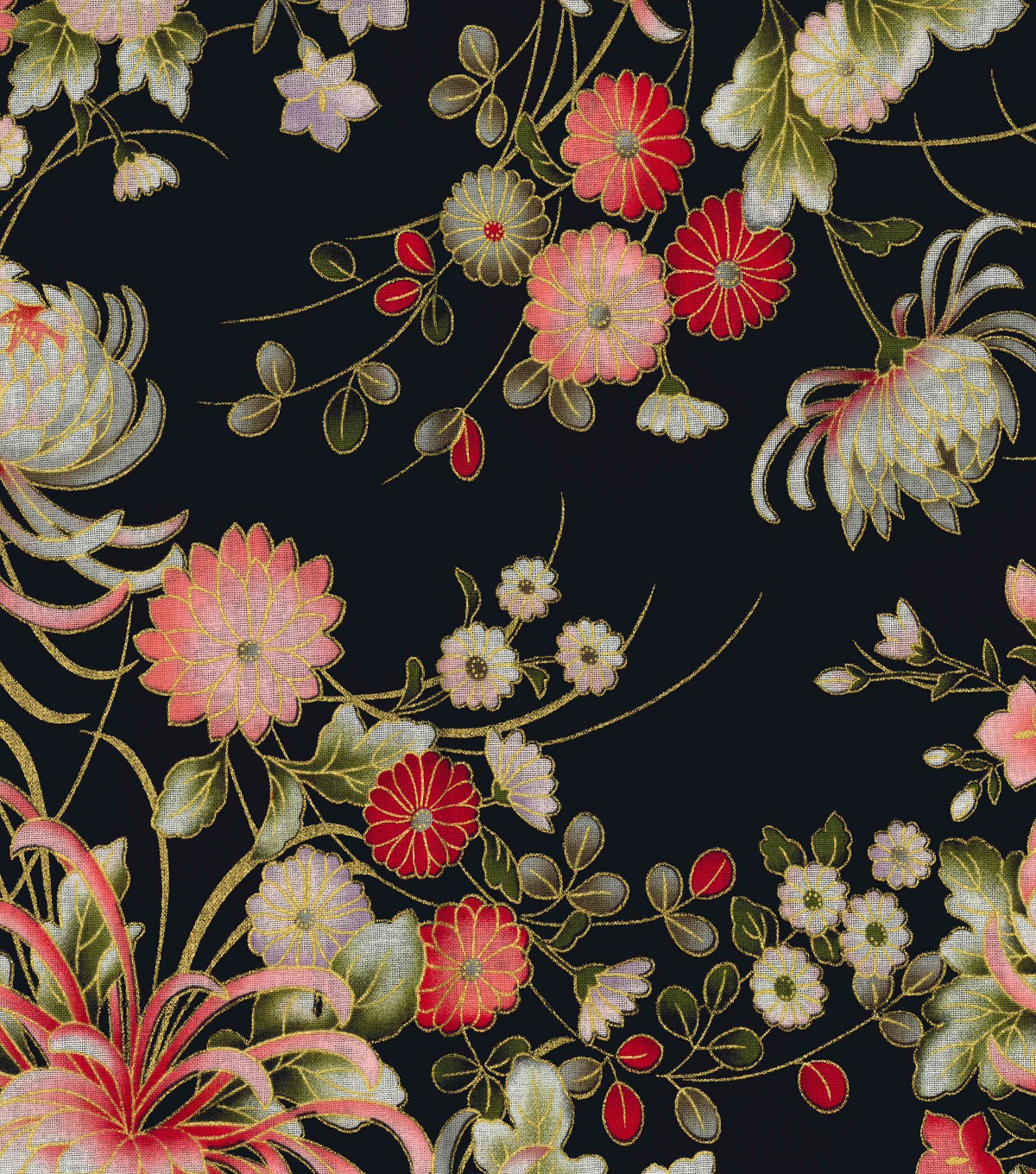 "Asian Inspired Cotton Fabric 43""-Floral Main Black Metallic"