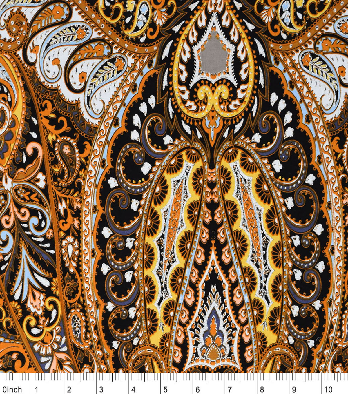 Silky Prints Fabric-Paisley Brown Rayon