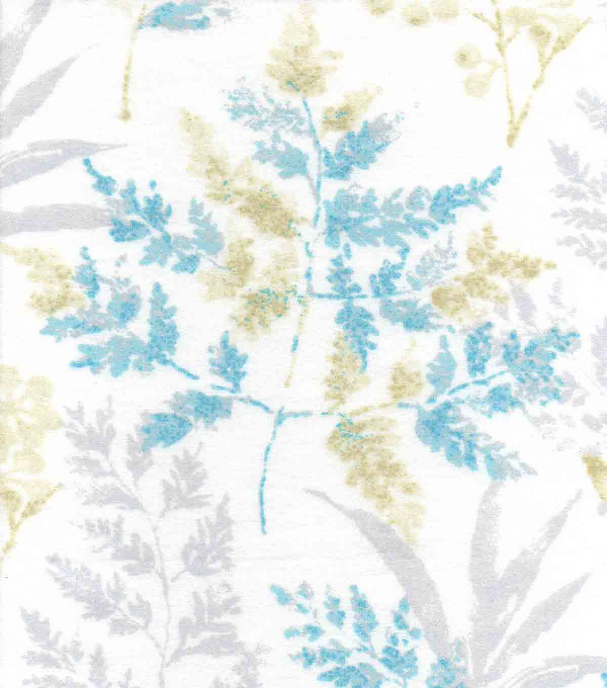 "Luxe Flannel Fabric 42""-Blue Tan Leaves"