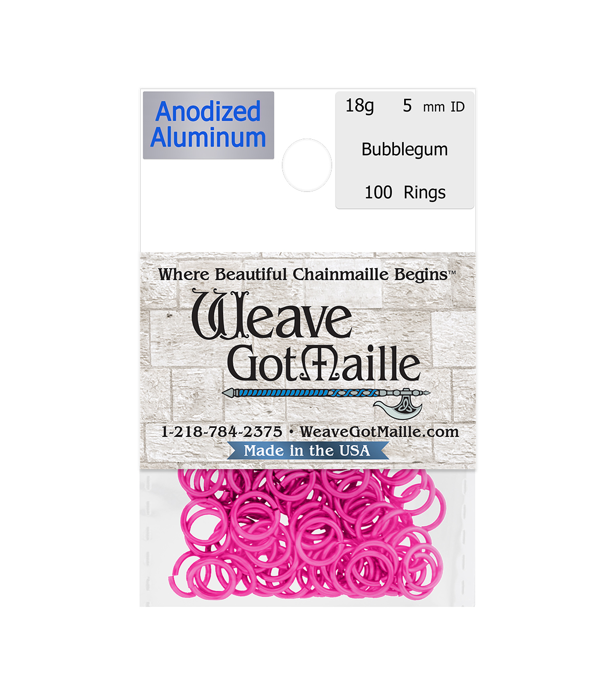 Weave Got Maille Pack of 100 5 mm Jump Rings-Bubblegum