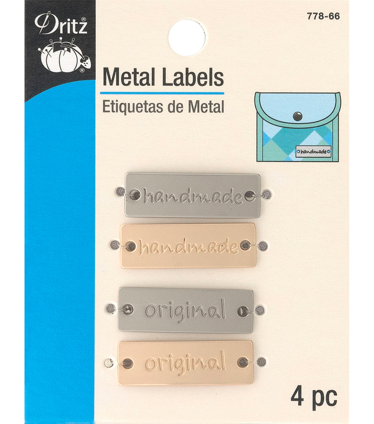 Dritz Metal Labels-Gold & Nickel-Handmade & Original