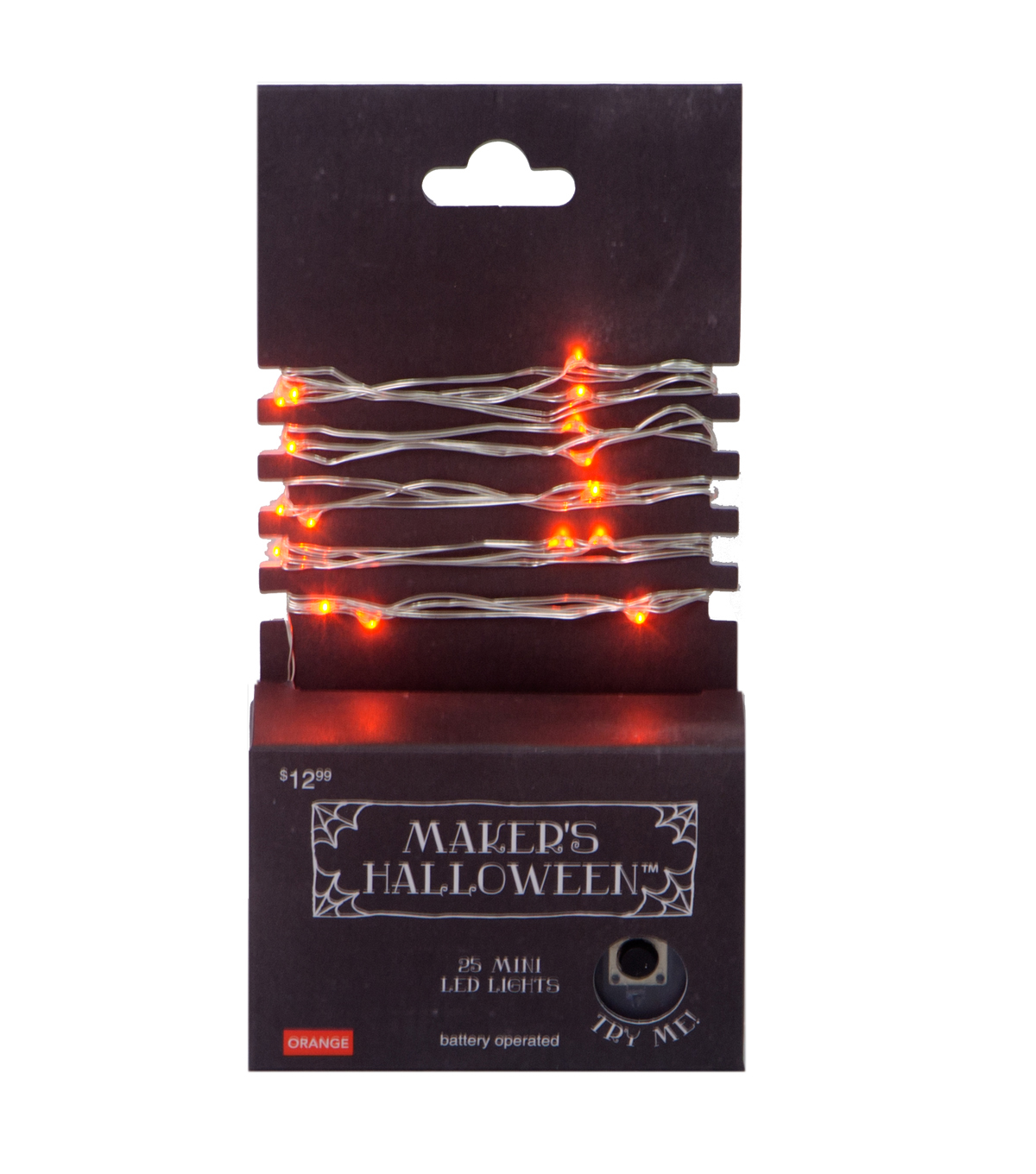 Maker\u0027s Halloween 25 Count Orange LED Lights with Silver Wire
