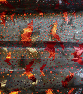 The Witching Hour Halloween Organza Fabric 58\u0022-Red Bats