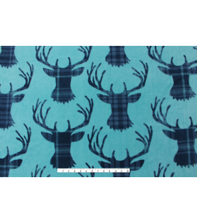 No-Sew Throw Fleece Fabric 72\u0022-Stag Head Plaid Teal
