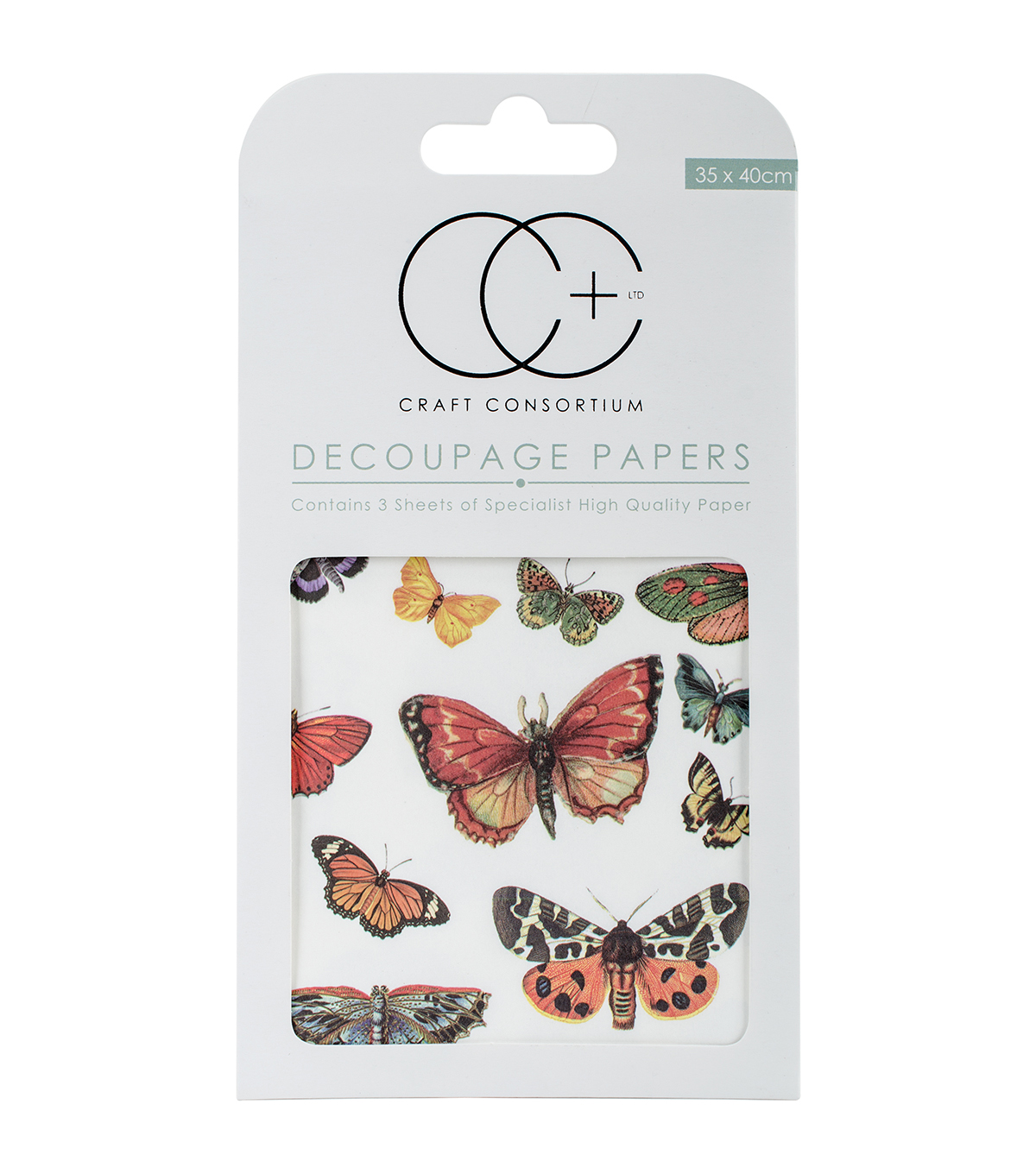 Craft Consortium 3ct Decoupage Papers-Flutter Of Butterflies
