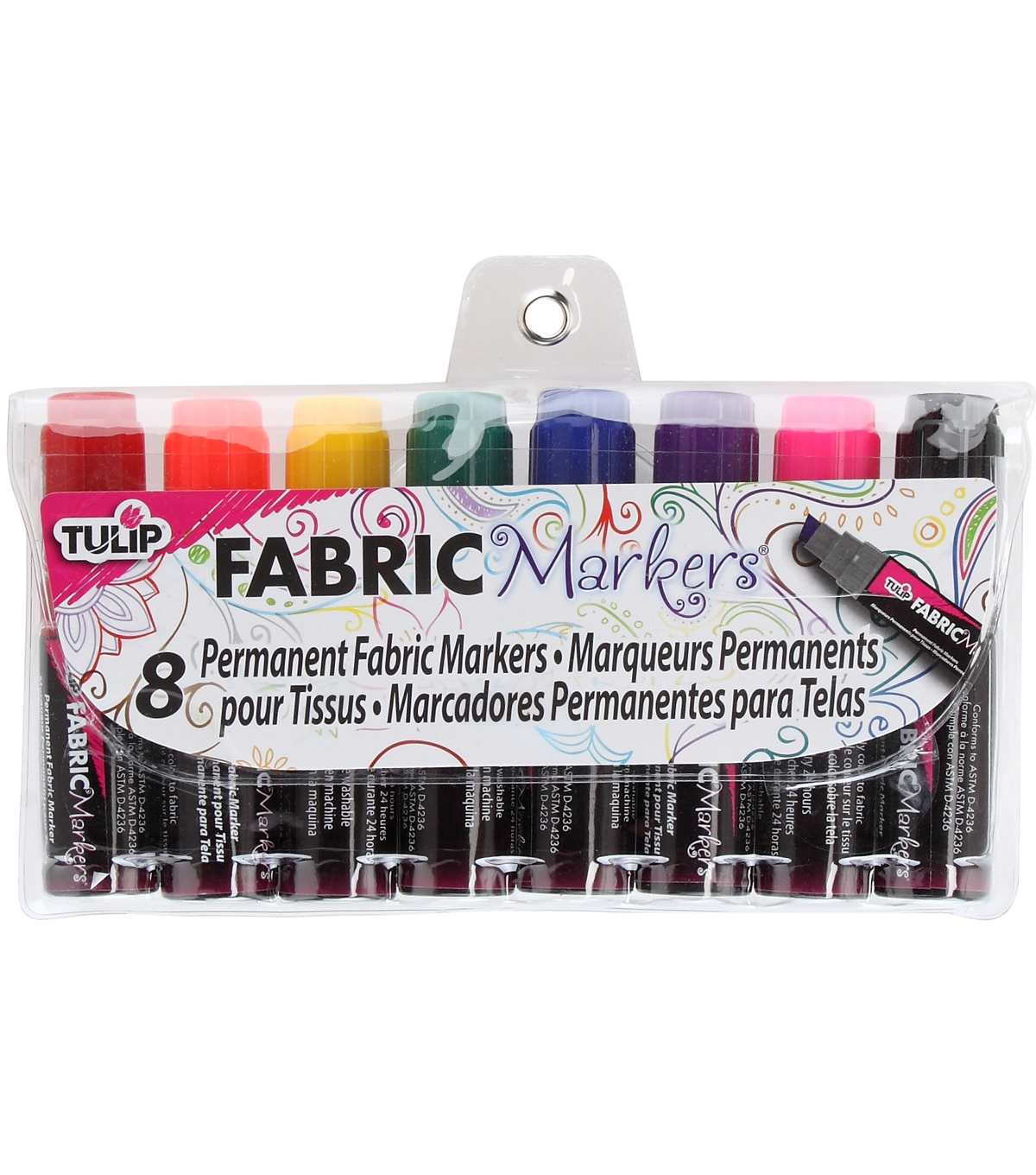 Tulip Mini Fat Fabric Markers 8/Pkg-Assorted