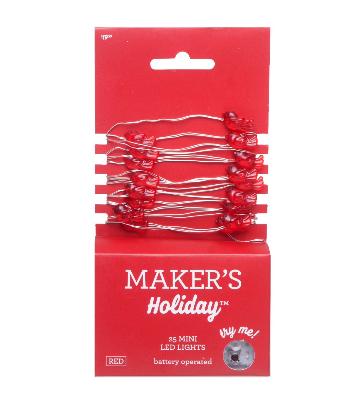 Maker\u0027s Holiday 25 ct Cardinal Mini Rice Light Strand with Silver Wire