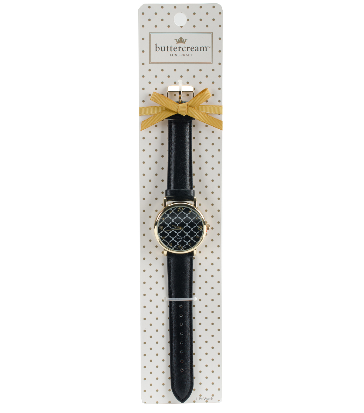 Buttercream™ Audrey Collection Printed Face with Black Strap Watch
