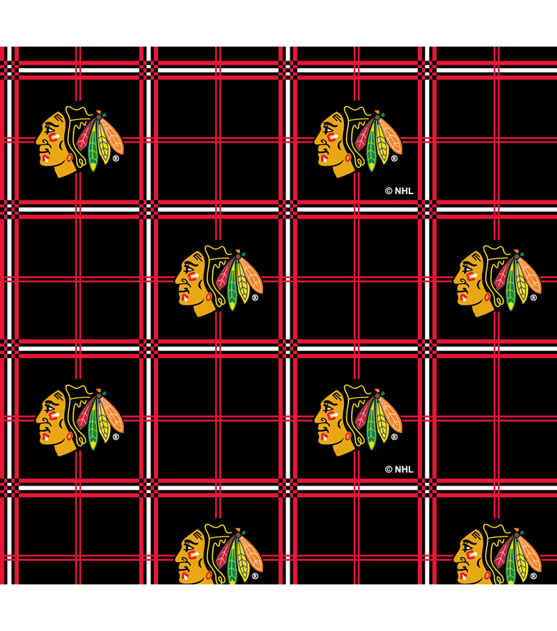 Chicago Blackhawks Flannel Fabric 44\u0022-Plaid