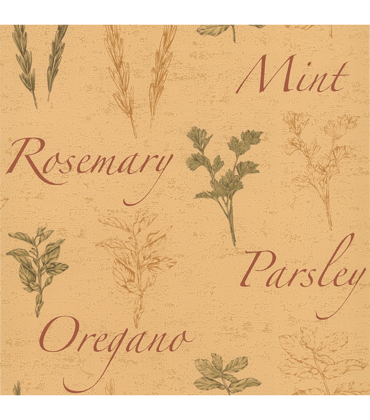 Fresh Herbs Beige Herbs  Wallpaper Sample