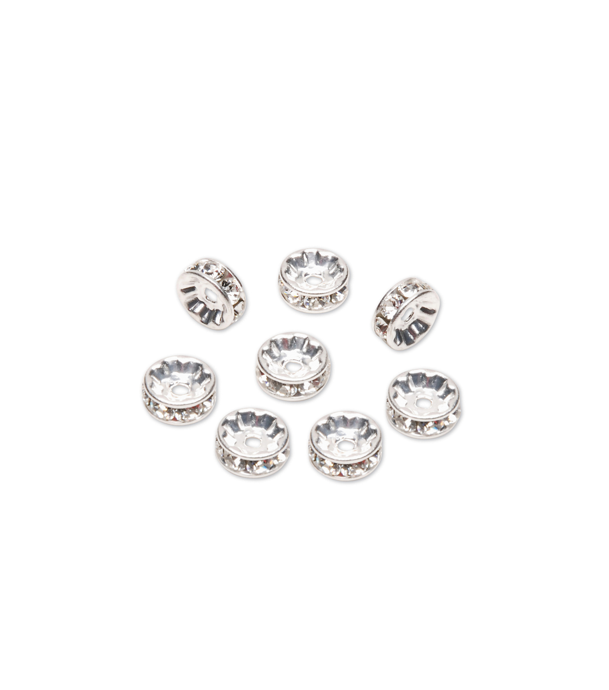 Swarovski Rondelle Spacers w/Crystal, Sterling Silver Plated, 6mm, 8pc/pkg