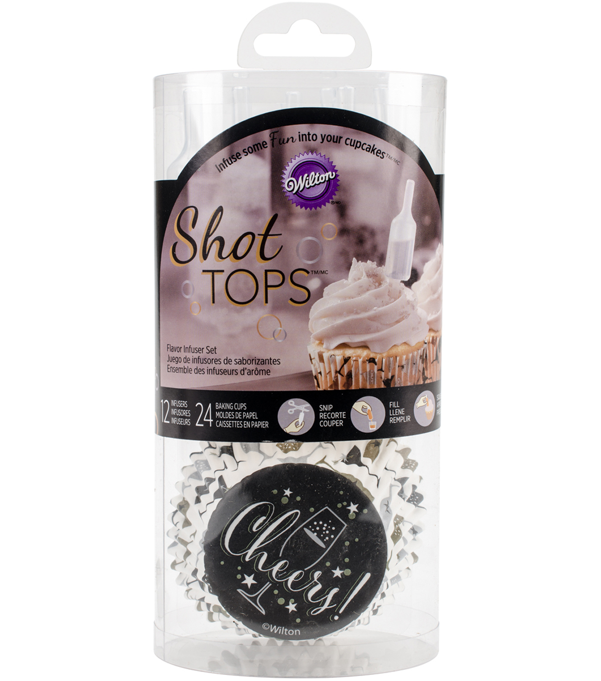 Wilton® Shot Tops Flavor Infusers & Cupcake Liners-Champagne Bottle