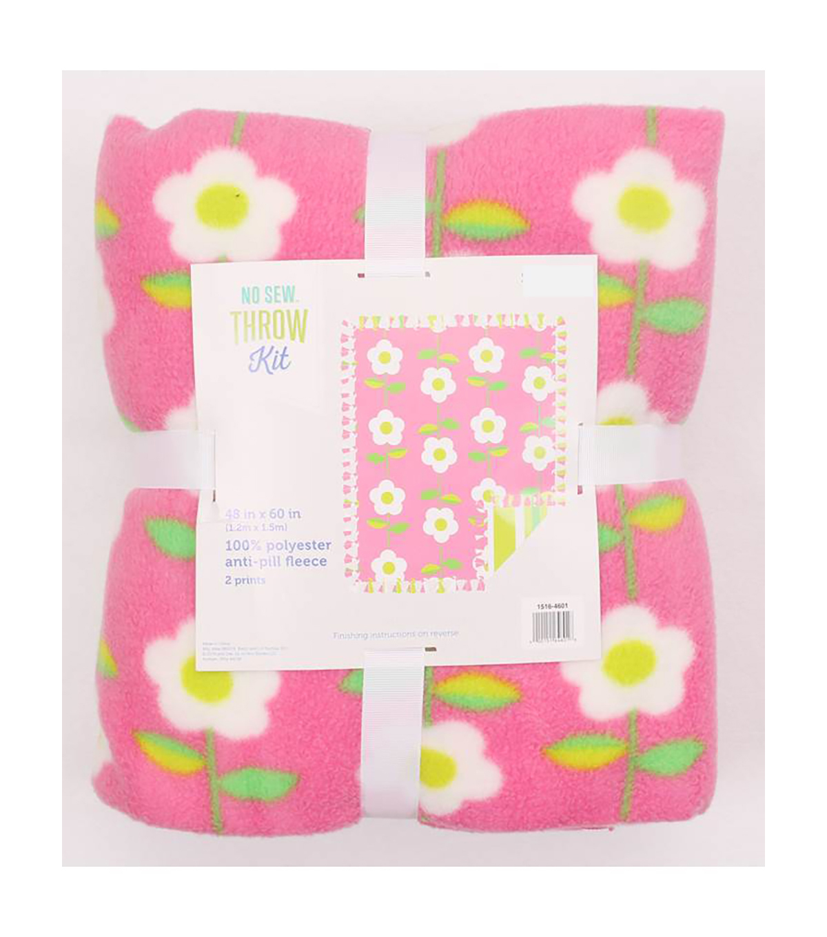 48\u0022 No Sew Fleece Throw- Pink Daisy Chain