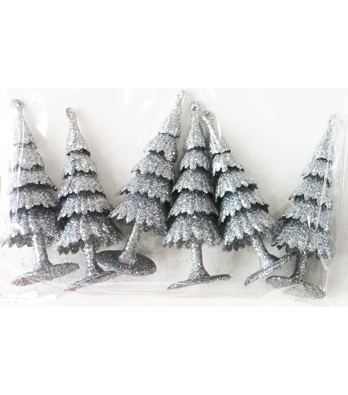 Maker\u0027s Holiday Christmas Littles 6 pk Plastic Trees-Silver