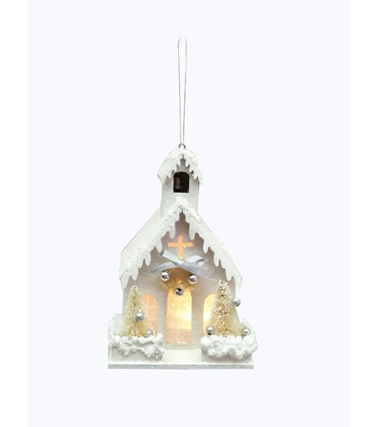 Maker\u0027s Holiday Christmas Church Ornament-White & Silver