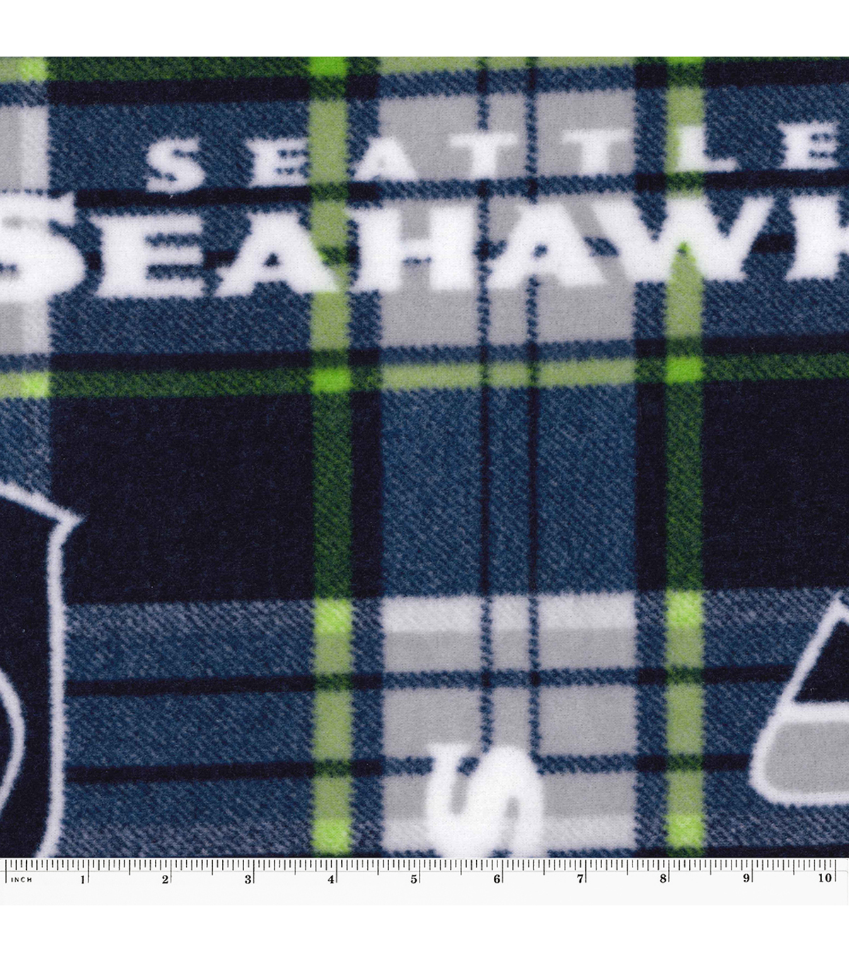 Seattle Seahawks Fleece Fabric 58\u0022-Plaid