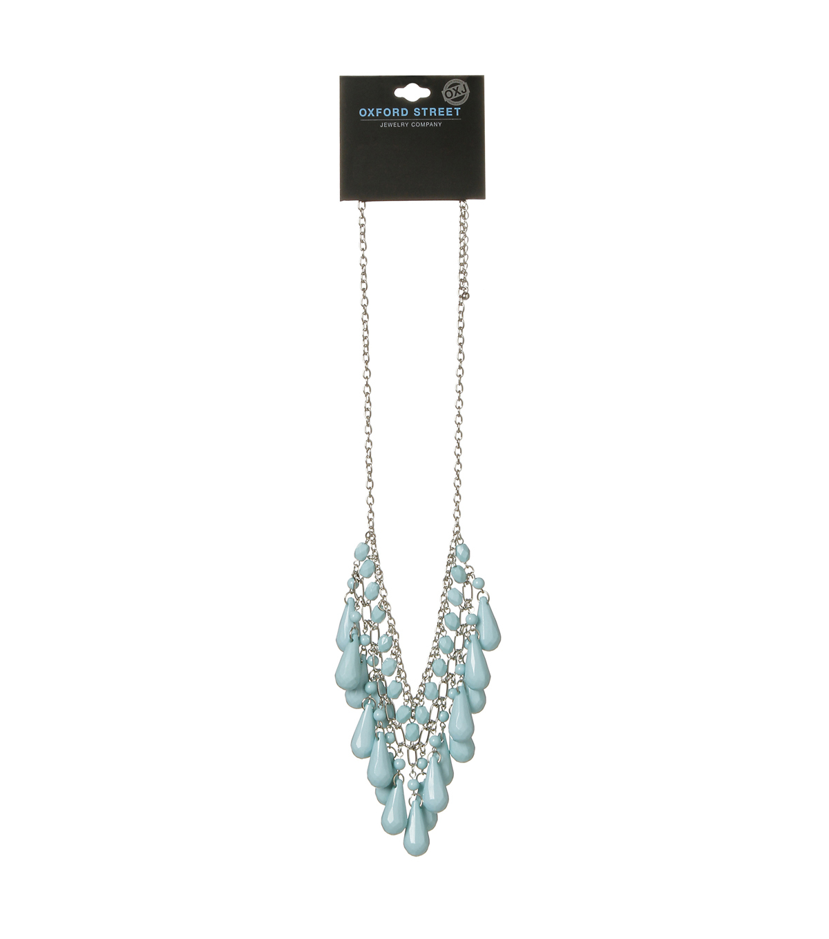 Oxford Street Jewelry Co. Light Blue Tear Drop Necklace w/Silver Plating
