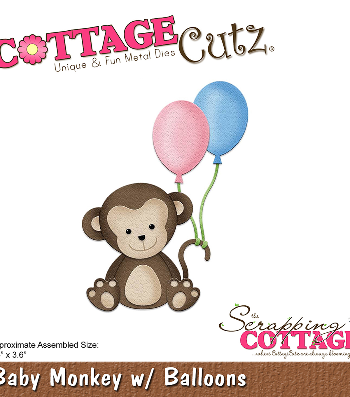 Cottagecutz Die-Baby Monkey With Balloons