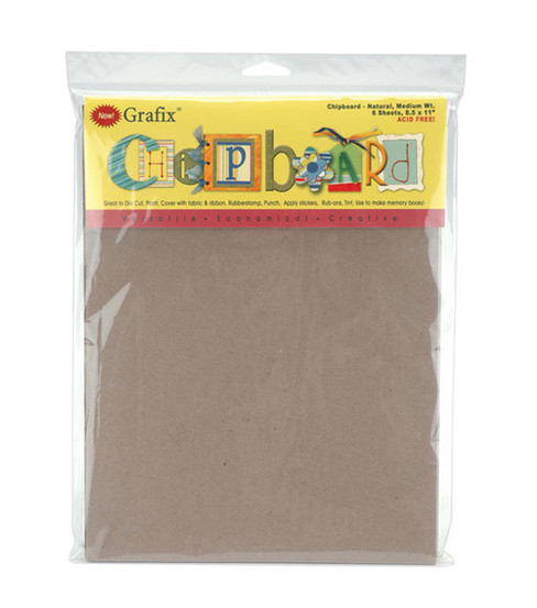 Grafix 8-1/2\u0022x11\u0022 Medium Weight Chipboard Sheets-6PK/Natural