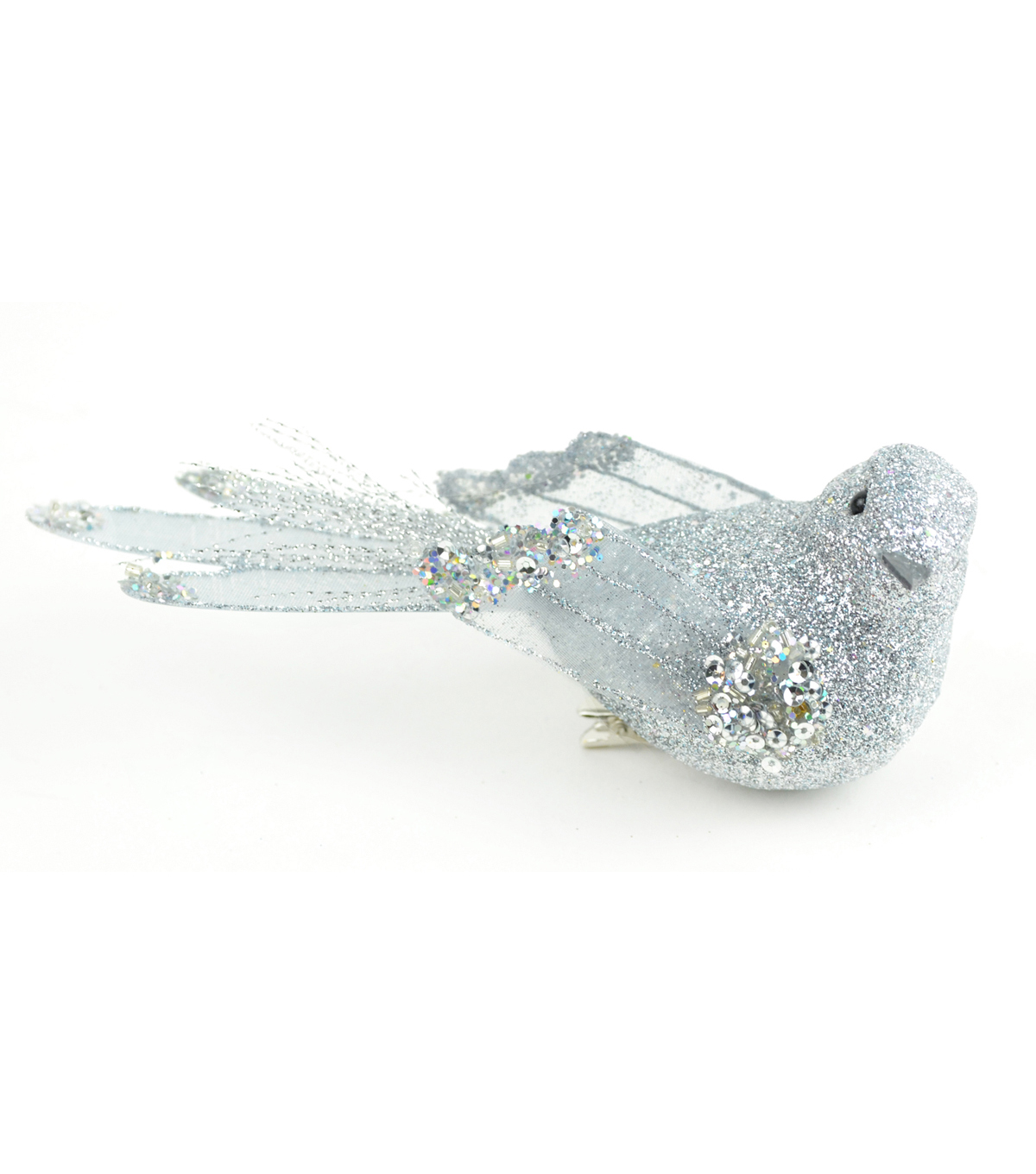 Blooming Holiday 5\u0027\u0027 Bird With Clip-Silver Glitter
