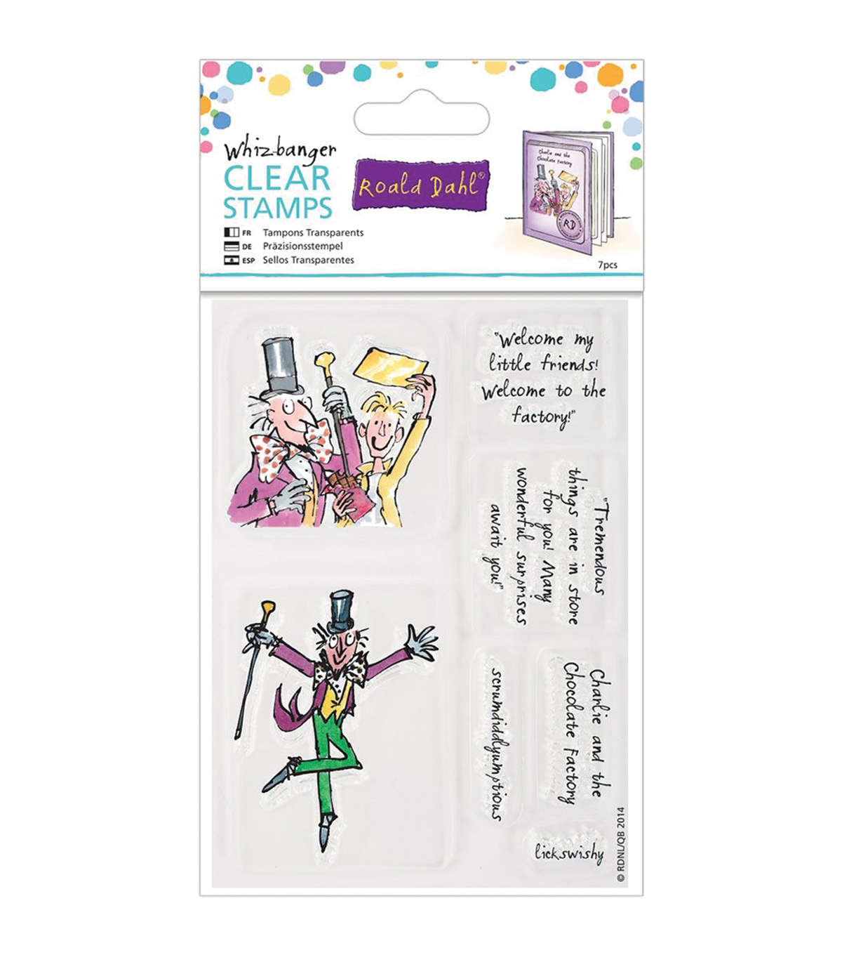 Roald Dahl Charlie & The Chocolate Factory Clear Stamps-Wiz-Banger
